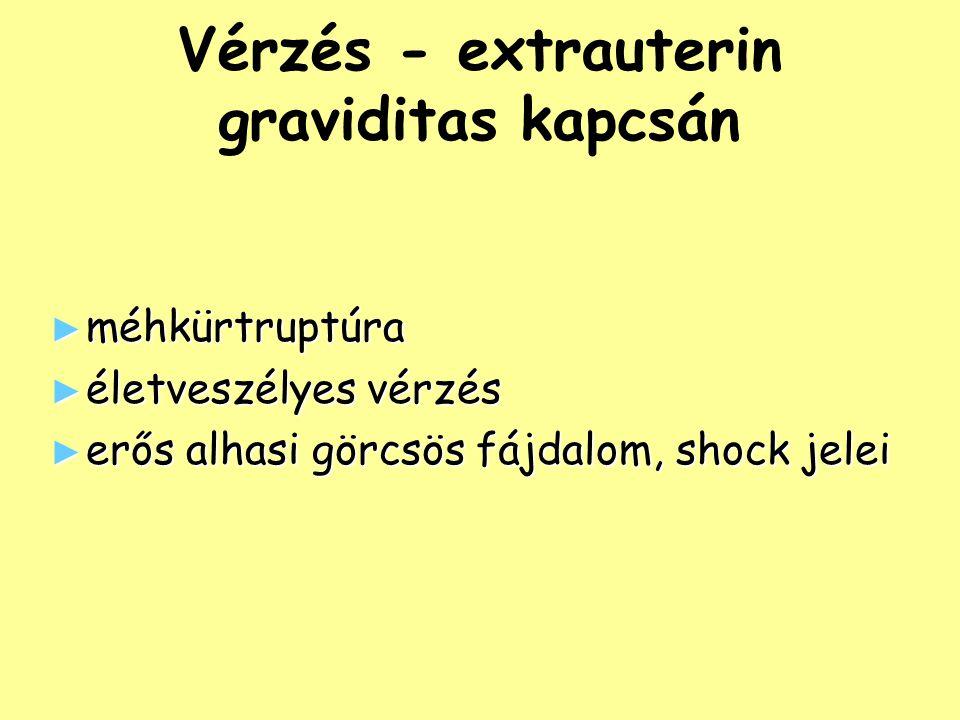 Vérzés - extrauterin graviditas kapcsán ► méhkürtruptúra ► életveszélyes vérzés ► erős alhasi görcsös fájdalom, shock jelei