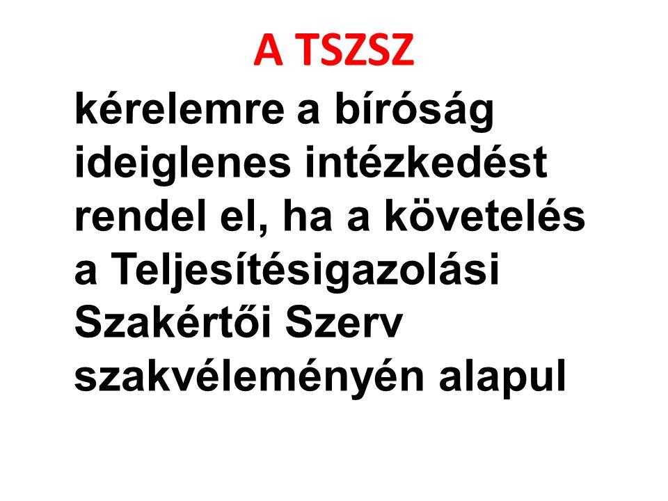 A TSZSZ kérelemre a bíróság ideiglenes intézkedést rendel el, ha a követelés a Teljesítésigazolási Szakértői Szerv szakvéleményén alapul