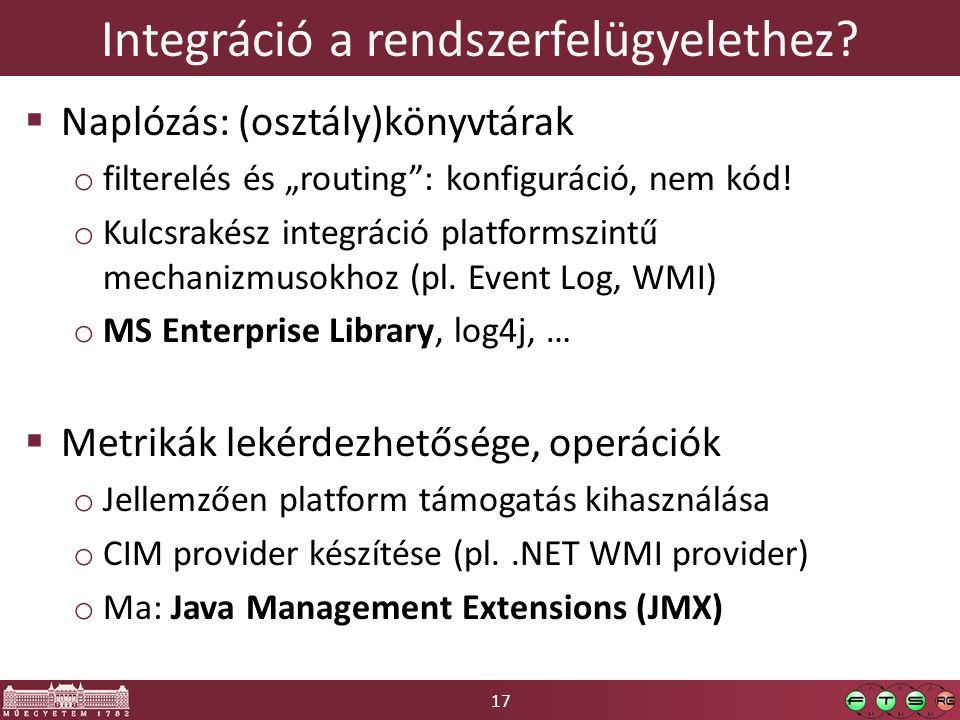 """17 Integráció a rendszerfelügyelethez?  Naplózás: (osztály)könyvtárak o filterelés és """"routing"""": konfiguráció, nem kód! o Kulcsrakész integráció plat"""