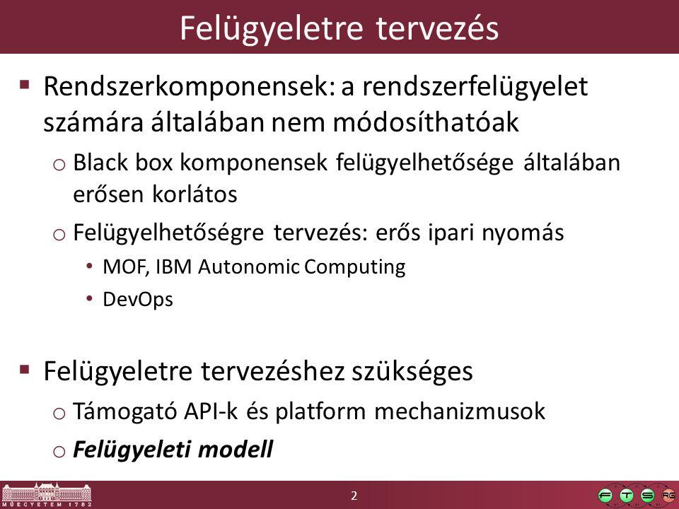 2 Felügyeletre tervezés  Rendszerkomponensek: a rendszerfelügyelet számára általában nem módosíthatóak o Black box komponensek felügyelhetősége által