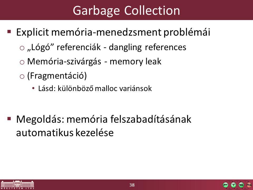 """38 Garbage Collection  Explicit memória-menedzsment problémái o """"Lógó"""" referenciák - dangling references o Memória-szivárgás - memory leak o (Fragmen"""