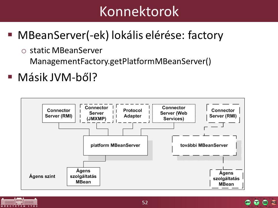52 Konnektorok  MBeanServer(-ek) lokális elérése: factory o static MBeanServer ManagementFactory.getPlatformMBeanServer()  Másik JVM-ből?
