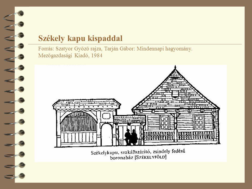 Székely kapu kispaddal Forrás: Szatyor Győző rajza, Tarján Gábor: Mindennapi hagyomány. Mezőgazdasági Kiadó, 1984
