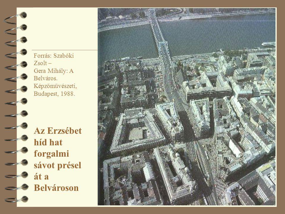 Forrás: Szabóki Zsolt – Gera Mihály: A Belváros. Képzőművészeti, Budapest, 1988. Az Erzsébet híd hat forgalmi sávot présel át a Belvároson