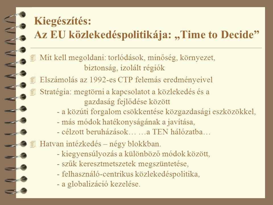 """Kiegészítés: Az EU közlekedéspolitikája: """"Time to Decide 4 Mit kell megoldani: torlódások, minőség, környezet, biztonság, izolált régiók 4 Elszámolás az 1992-es CTP felemás eredményeivel 4 Stratégia: megtörni a kapcsolatot a közlekedés és a gazdaság fejlődése között - a közúti forgalom csökkentése közgazdasági eszközökkel, - más módok hatékonyságának a javítása, - célzott beruházások… …a TEN hálózatba… 4 Hatvan intézkedés – négy blokkban."""