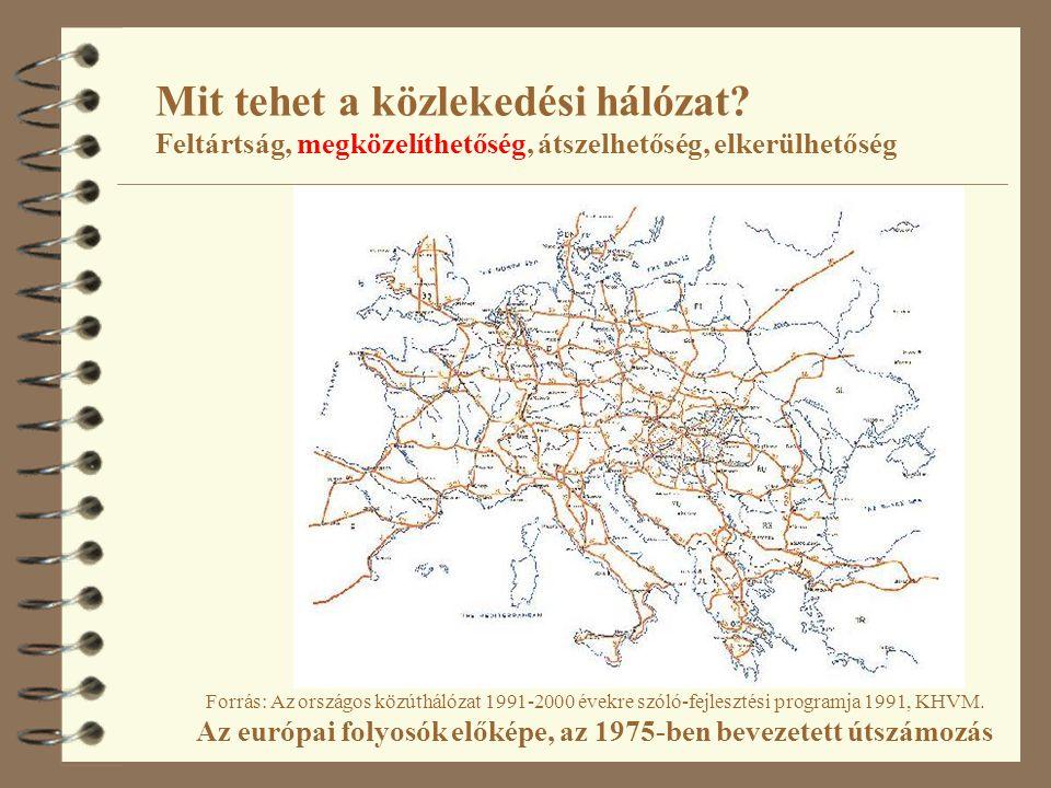 Mit tehet a közlekedési hálózat? Feltártság, megközelíthetőség, átszelhetőség, elkerülhetőség Forrás: Az országos közúthálózat 1991-2000 évekre szóló-