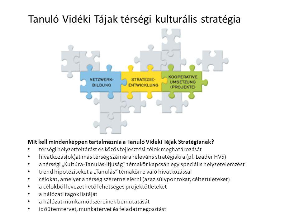 Mit kell mindenképpen tartalmaznia a Tanuló Vidéki Tájak Stratégiának? térségi helyzetfeltárást és közös fejlesztési célok meghatározását hivatkozás(o