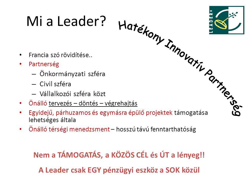 Mi a Leader? Francia szó rövidítése.. Partnerség – Önkormányzati szféra – Civil szféra – Vállalkozói szféra közt Önálló tervezés – döntés – végrehajtá