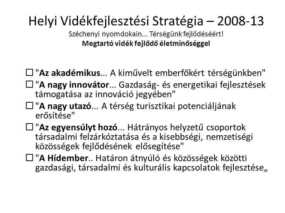Helyi Vidékfejlesztési Stratégia – 2008-13 Széchenyi nyomdokain... Térségünk fejlődéséért! Megtartó vidék fejlődő életminőséggel 