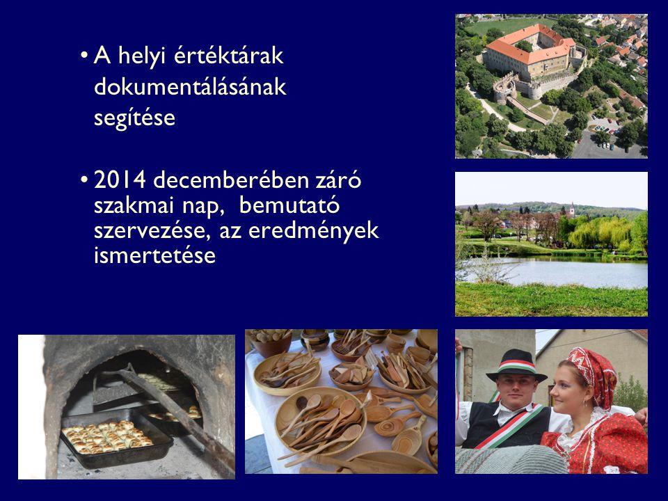 A helyi értéktárak dokumentálásának segítése 2014 decemberében záró szakmai nap, bemutató szervezése, az eredmények ismertetése