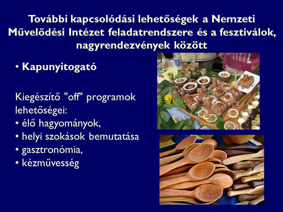 Kiegészítő off programok lehetőségei: élő hagyományok, helyi szokások bemutatása gasztronómia, kézművesség Kapunyitogató További kapcsolódási lehetőségek a Nemzeti Művelődési Intézet feladatrendszere és a fesztiválok, nagyrendezvények között