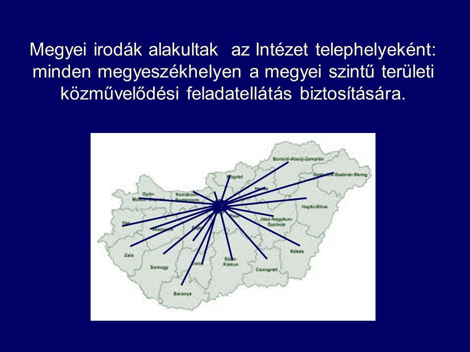 Megyei irodák alakultak az Intézet telephelyeként: minden megyeszékhelyen a megyei szintű területi közművelődési feladatellátás biztosítására.
