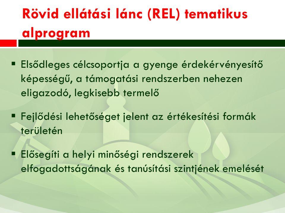 Rövid ellátási lánc (REL) tematikus alprogram  Elsődleges célcsoportja a gyenge érdekérvényesítő képességű, a támogatási rendszerben nehezen eligazodó, legkisebb termelő  Fejlődési lehetőséget jelent az értékesítési formák területén  Elősegíti a helyi minőségi rendszerek elfogadottságának és tanúsítási szintjének emelését