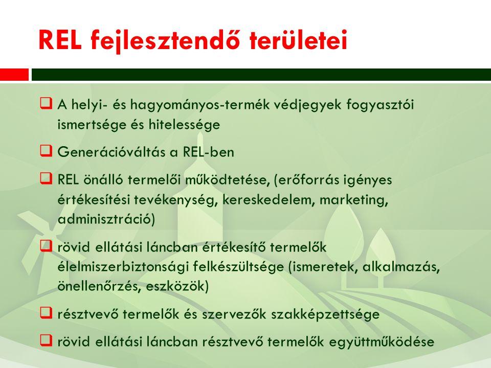 REL fejlesztendő területei  A helyi- és hagyományos-termék védjegyek fogyasztói ismertsége és hitelessége  Generációváltás a REL-ben  REL önálló termelői működtetése, (erőforrás igényes értékesítési tevékenység, kereskedelem, marketing, adminisztráció)  rövid ellátási láncban értékesítő termelők élelmiszerbiztonsági felkészültsége (ismeretek, alkalmazás, önellenőrzés, eszközök)  résztvevő termelők és szervezők szakképzettsége  rövid ellátási láncban résztvevő termelők együttműködése