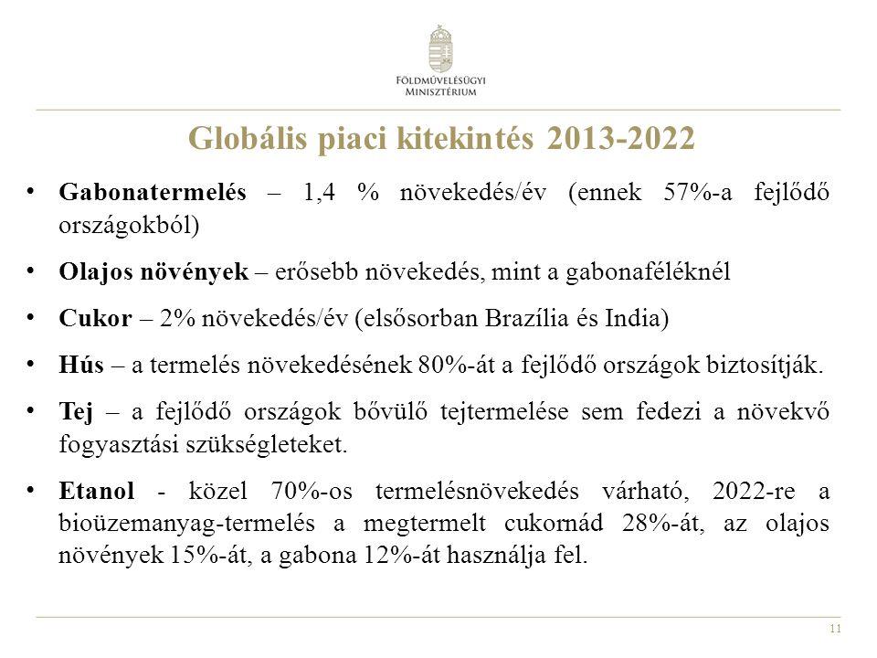 11 Globális piaci kitekintés 2013-2022 Gabonatermelés – 1,4 % növekedés/év (ennek 57%-a fejlődő országokból) Olajos növények – erősebb növekedés, mint