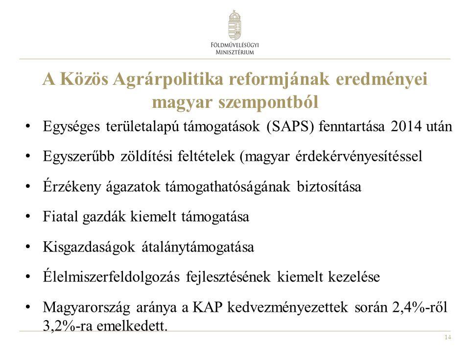 14 A Közös Agrárpolitika reformjának eredményei magyar szempontból Egységes területalapú támogatások (SAPS) fenntartása 2014 után Egyszerűbb zöldítési