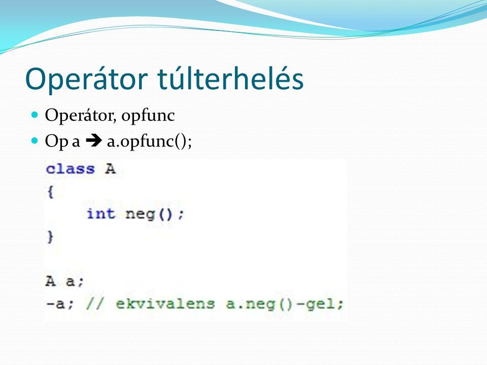 Operátor túlterhelés Operátor, opfunc Op a  a.opfunc();