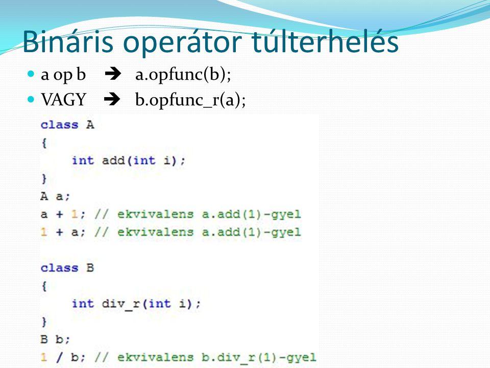 Bináris operátor túlterhelés a op b  a.opfunc(b); VAGY  b.opfunc_r(a);