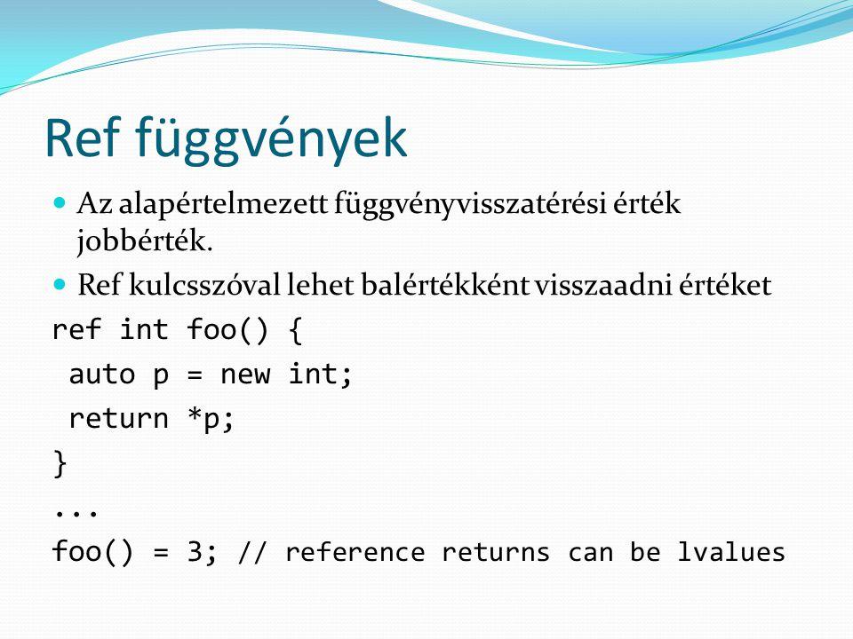Ref függvények Az alapértelmezett függvényvisszatérési érték jobbérték.