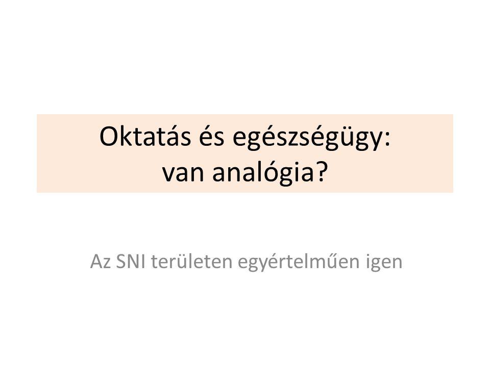 Oktatás és egészségügy: van analógia Az SNI területen egyértelműen igen