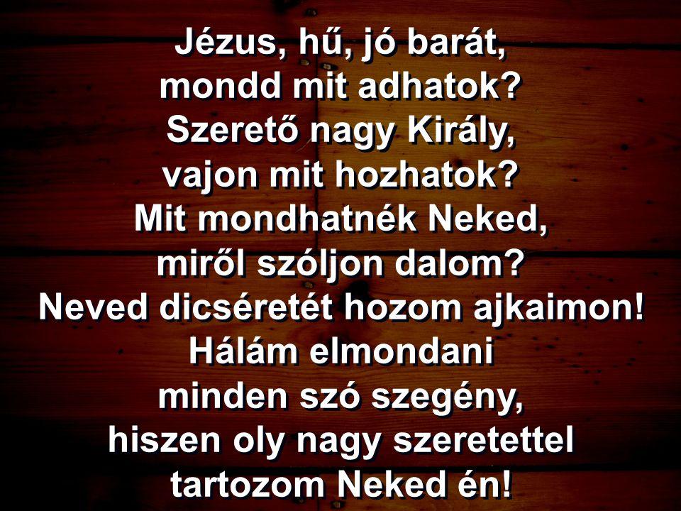 Jézus, hű, jó barát, mondd mit adhatok? Szerető nagy Király, vajon mit hozhatok? Mit mondhatnék Neked, miről szóljon dalom? Neved dicséretét hozom ajk
