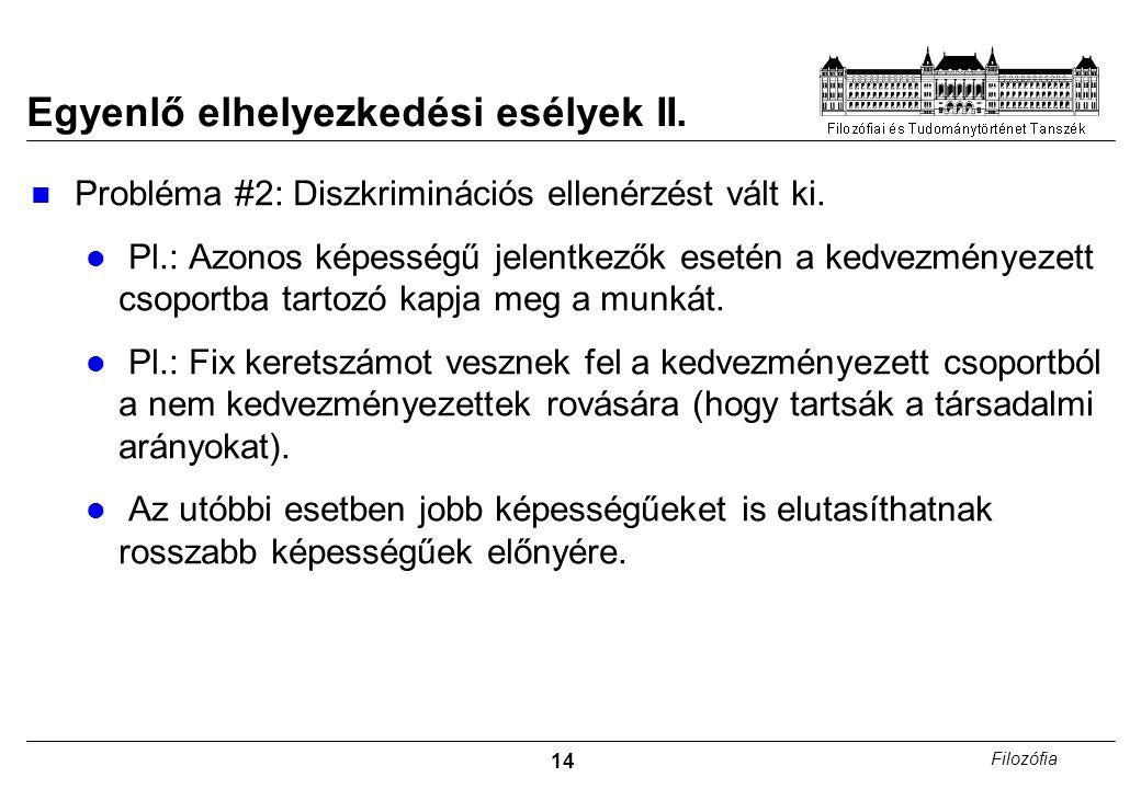 14 Filozófia Egyenlő elhelyezkedési esélyek II. Probléma #2: Diszkriminációs ellenérzést vált ki.