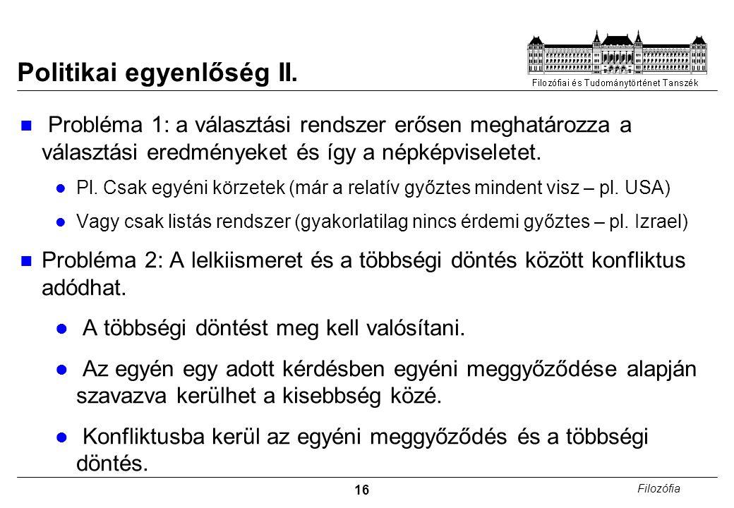 16 Filozófia Politikai egyenlőség II.