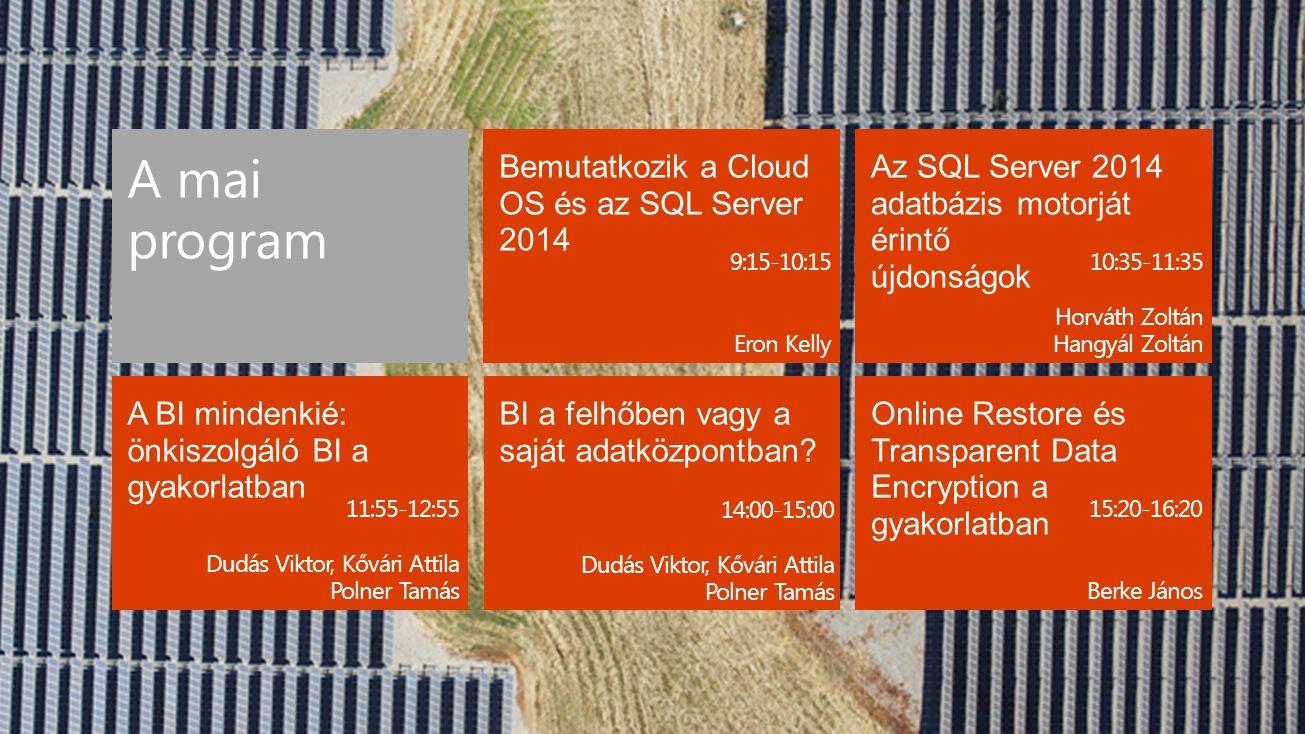Bemutatkozik a Cloud OS és az SQL Server 2014 Az SQL Server 2014 adatbázis motorját érintő újdonságok BI a felhőben vagy a saját adatközpontban? Onlin