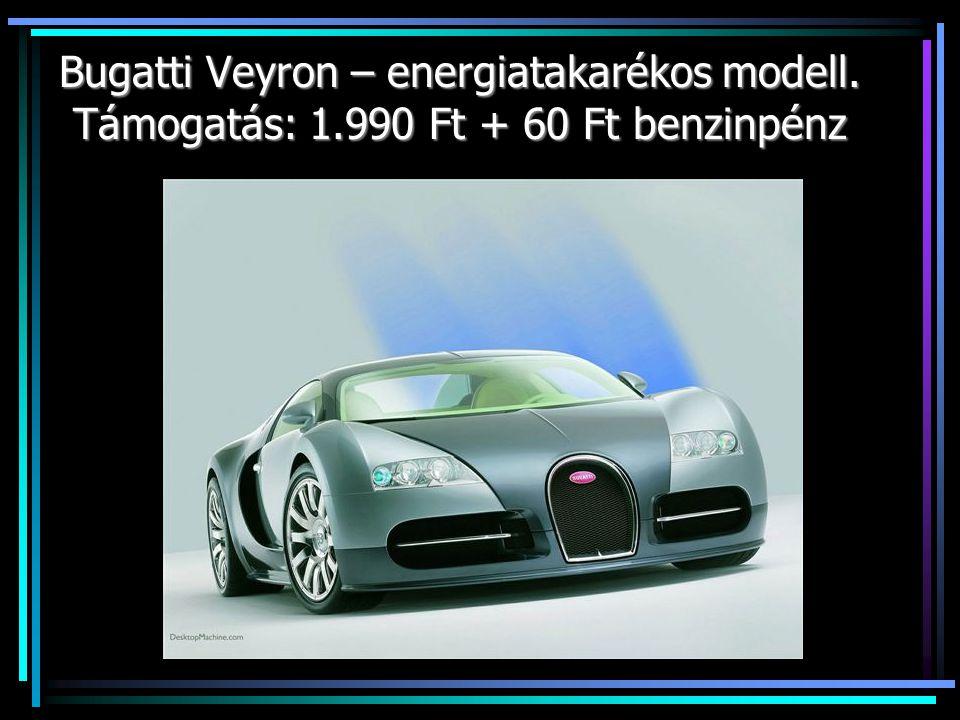 Bugatti Veyron – energiatakarékos modell. Támogatás: 1.990 Ft + 60 Ft benzinpénz