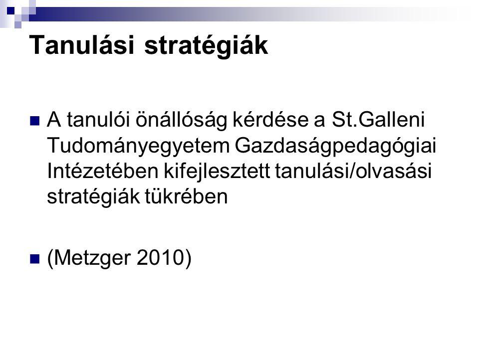 Tanulási stratégiák A tanulói önállóság kérdése a St.Galleni Tudományegyetem Gazdaságpedagógiai Intézetében kifejlesztett tanulási/olvasási stratégiák tükrében (Metzger 2010)