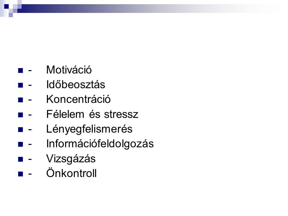 -Motiváció -Időbeosztás -Koncentráció -Félelem és stressz -Lényegfelismerés -Információfeldolgozás -Vizsgázás -Önkontroll