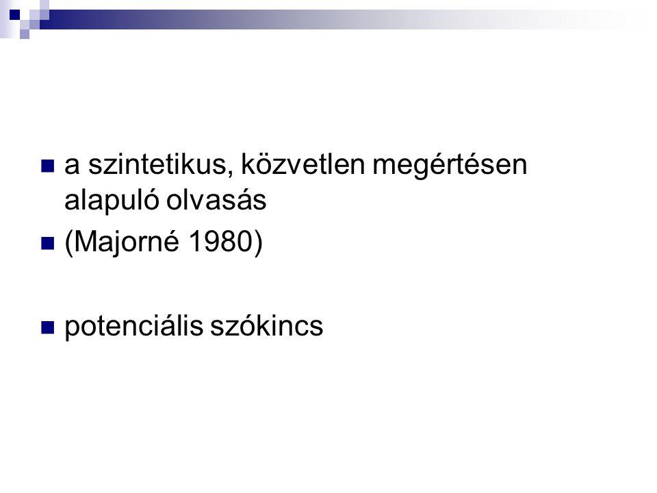 a szintetikus, közvetlen megértésen alapuló olvasás (Majorné 1980) potenciális szókincs