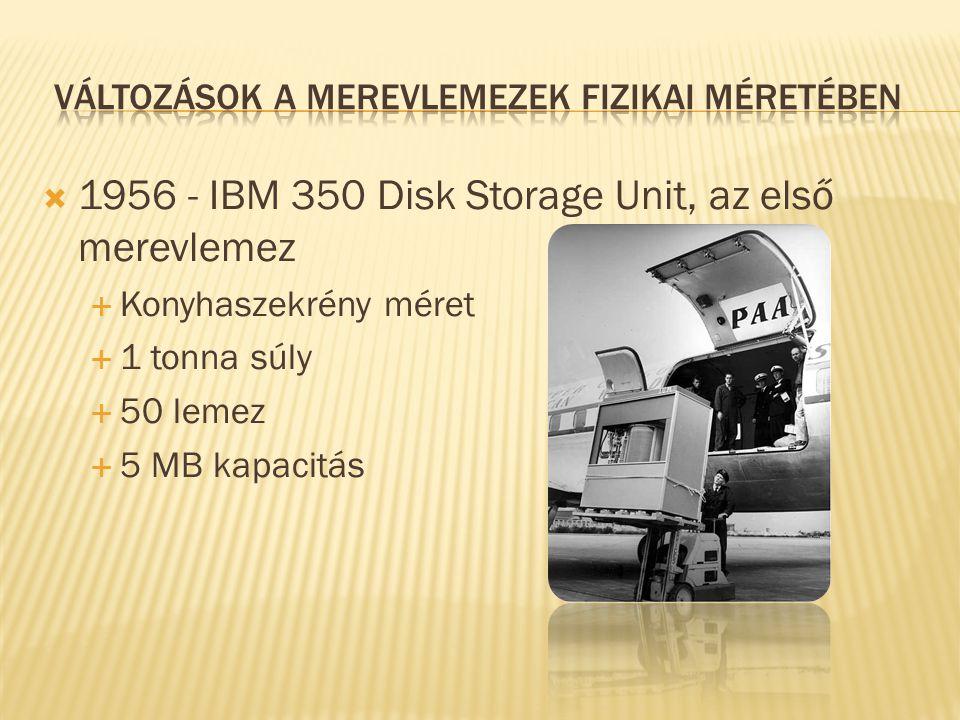  1956 - IBM 350 Disk Storage Unit, az első merevlemez  Konyhaszekrény méret  1 tonna súly  50 lemez  5 MB kapacitás
