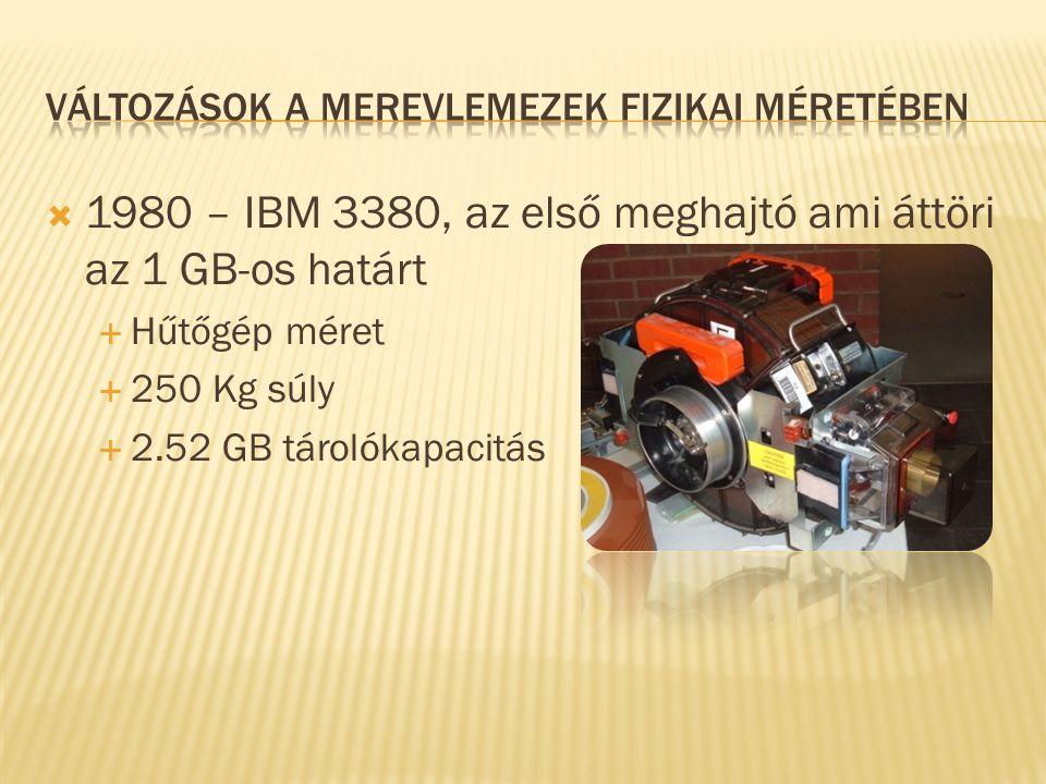  1980 – IBM 3380, az első meghajtó ami áttöri az 1 GB-os határt  Hűtőgép méret  250 Kg súly  2.52 GB tárolókapacitás