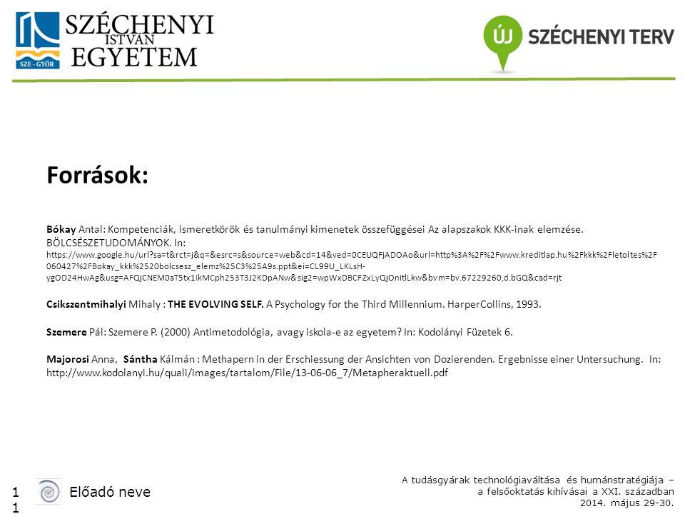 1 Előadó neve A tudásgyárak technológiaváltása és humánstratégiája – a felsőoktatás kihívásai a XXI. században 2014. május 29-30. Források: Bókay Anta