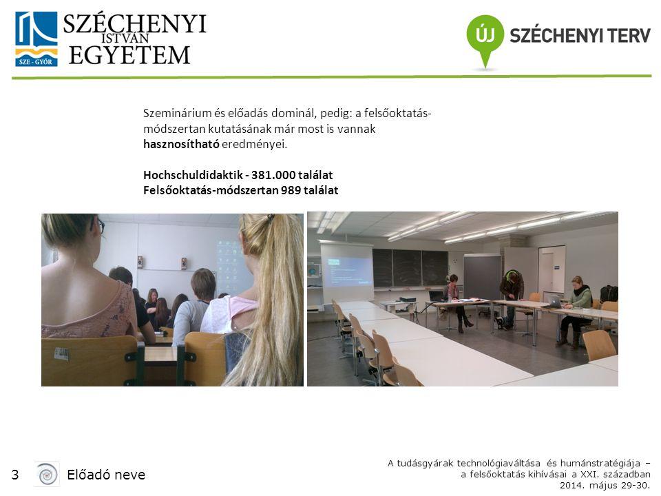 3Előadó neve A tudásgyárak technológiaváltása és humánstratégiája – a felsőoktatás kihívásai a XXI. században 2014. május 29-30. Szeminárium és előadá