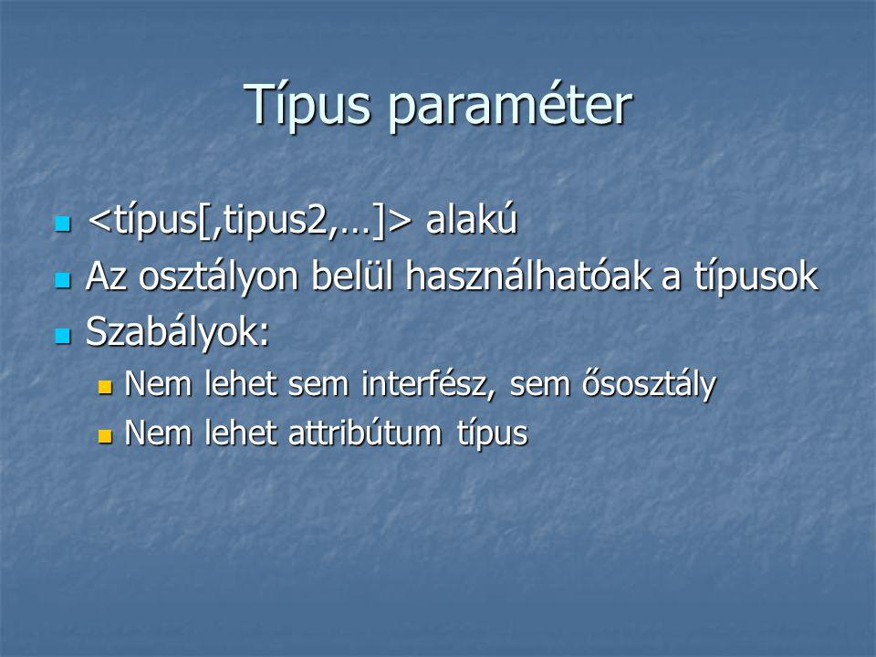 Típus paraméter alakú alakú Az osztályon belül használhatóak a típusok Az osztályon belül használhatóak a típusok Szabályok: Szabályok: Nem lehet sem interfész, sem ősosztály Nem lehet sem interfész, sem ősosztály Nem lehet attribútum típus Nem lehet attribútum típus