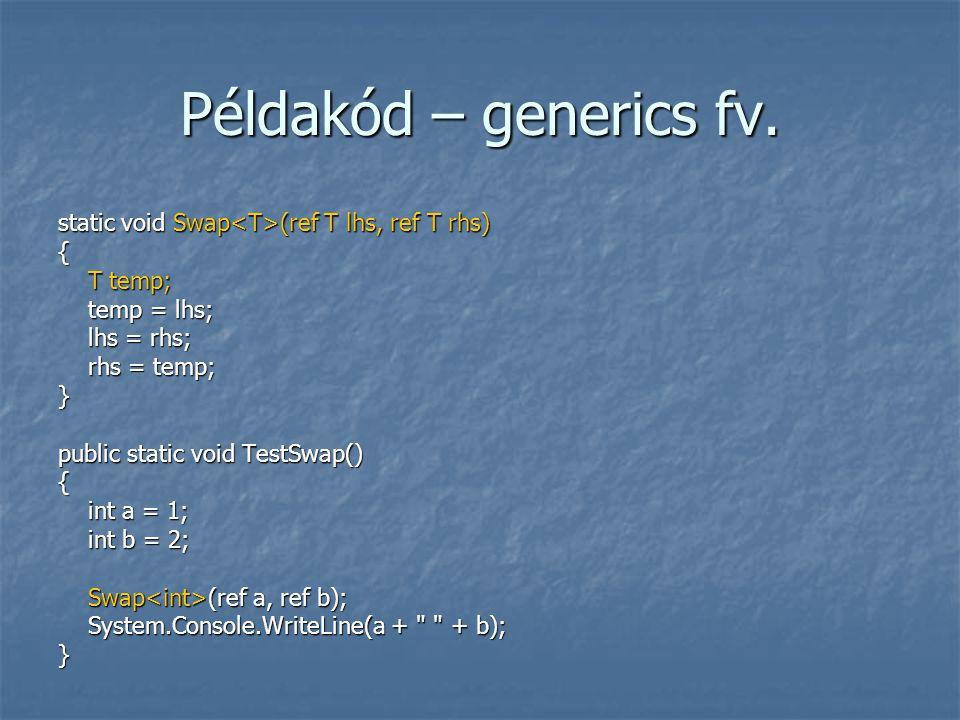 Példakód – generics fv. static void Swap (ref T lhs, ref T rhs) { T temp; T temp; temp = lhs; temp = lhs; lhs = rhs; lhs = rhs; rhs = temp; rhs = temp