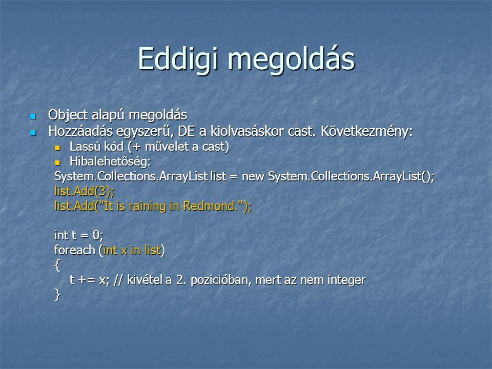 Eddigi megoldás Object alapú megoldás Object alapú megoldás Hozzáadás egyszerű, DE a kiolvasáskor cast.
