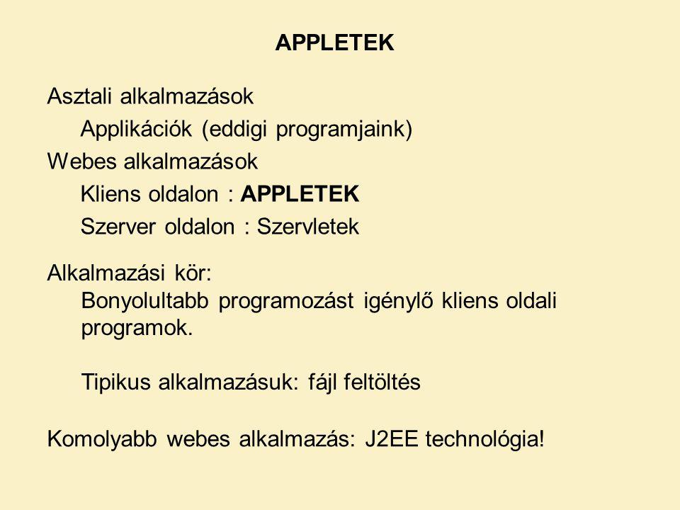 Asztali alkalmazások Applikációk (eddigi programjaink) Webes alkalmazások Kliens oldalon : APPLETEK Szerver oldalon : Szervletek APPLETEK Alkalmazási kör: Bonyolultabb programozást igénylő kliens oldali programok.