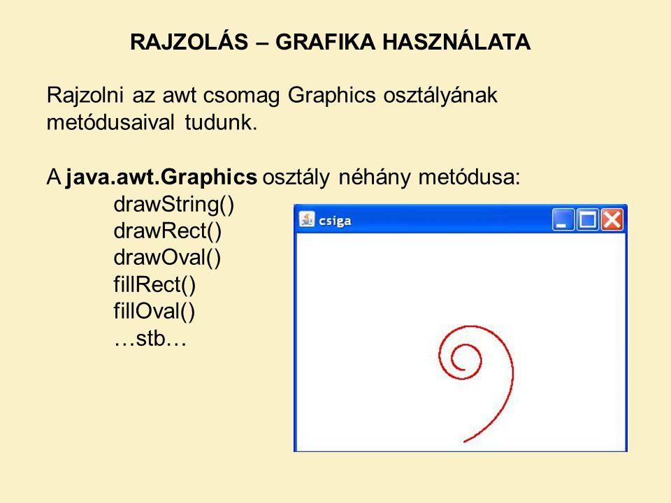 RAJZOLÁS – GRAFIKA HASZNÁLATA Rajzolni az awt csomag Graphics osztályának metódusaival tudunk.
