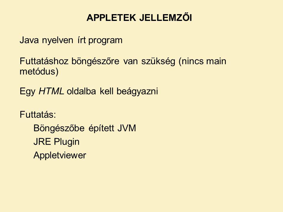 Futtatás: Böngészőbe épített JVM JRE Plugin Appletviewer APPLETEK JELLEMZŐI Java nyelven írt program Futtatáshoz böngészőre van szükség (nincs main metódus) Egy HTML oldalba kell beágyazni
