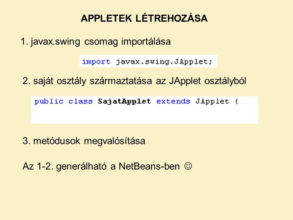 APPLETEK LÉTREHOZÁSA 1.javax.swing csomag importálása 2.