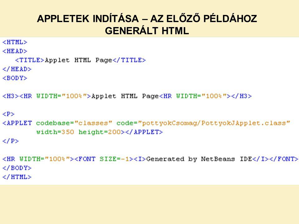 APPLETEK INDÍTÁSA – AZ ELŐZŐ PÉLDÁHOZ GENERÁLT HTML
