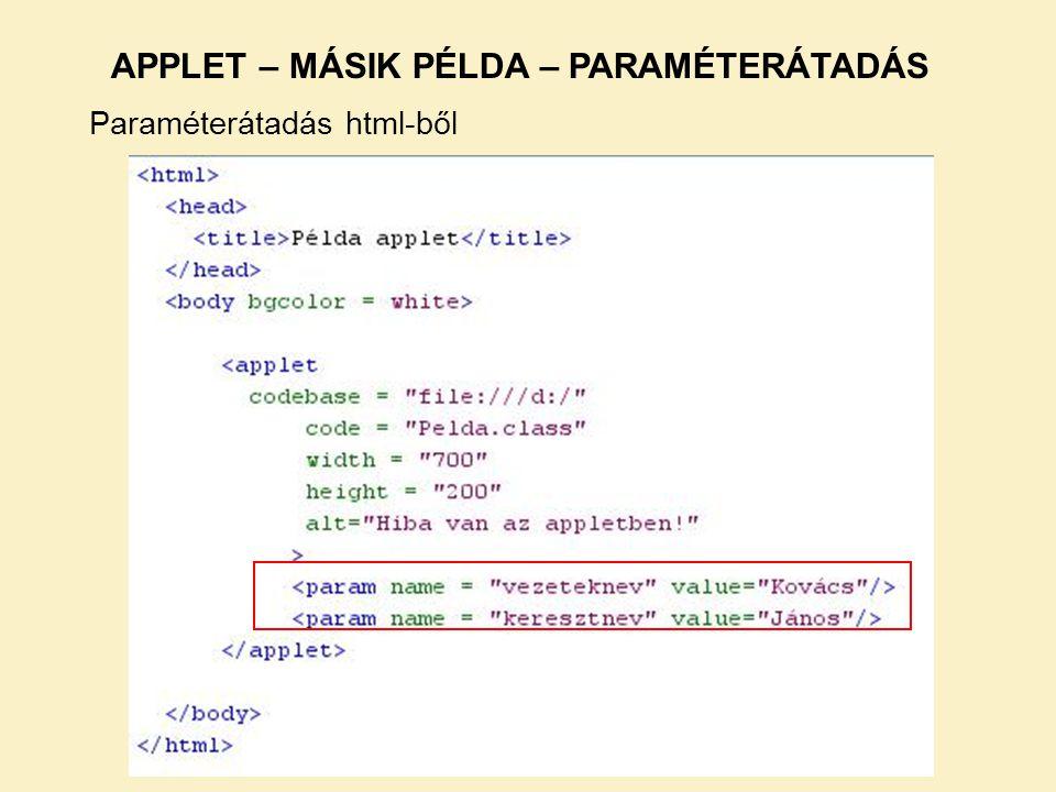 APPLET – MÁSIK PÉLDA – PARAMÉTERÁTADÁS Paraméterátadás html-ből