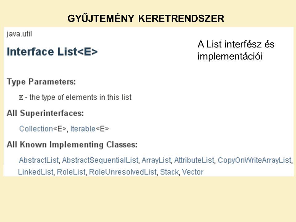 A List interfész és implementációi GYŰJTEMÉNY KERETRENDSZER