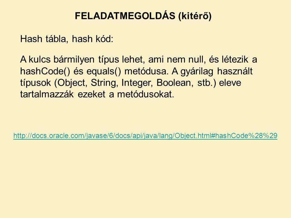 FELADATMEGOLDÁS (kitérő) A kulcs bármilyen típus lehet, ami nem null, és létezik a hashCode() és equals() metódusa. A gyárilag használt típusok (Objec