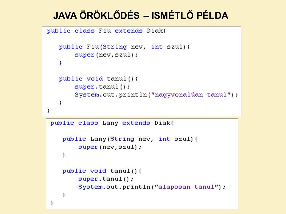 A Java-ban több konténer osztályt implementáltak.