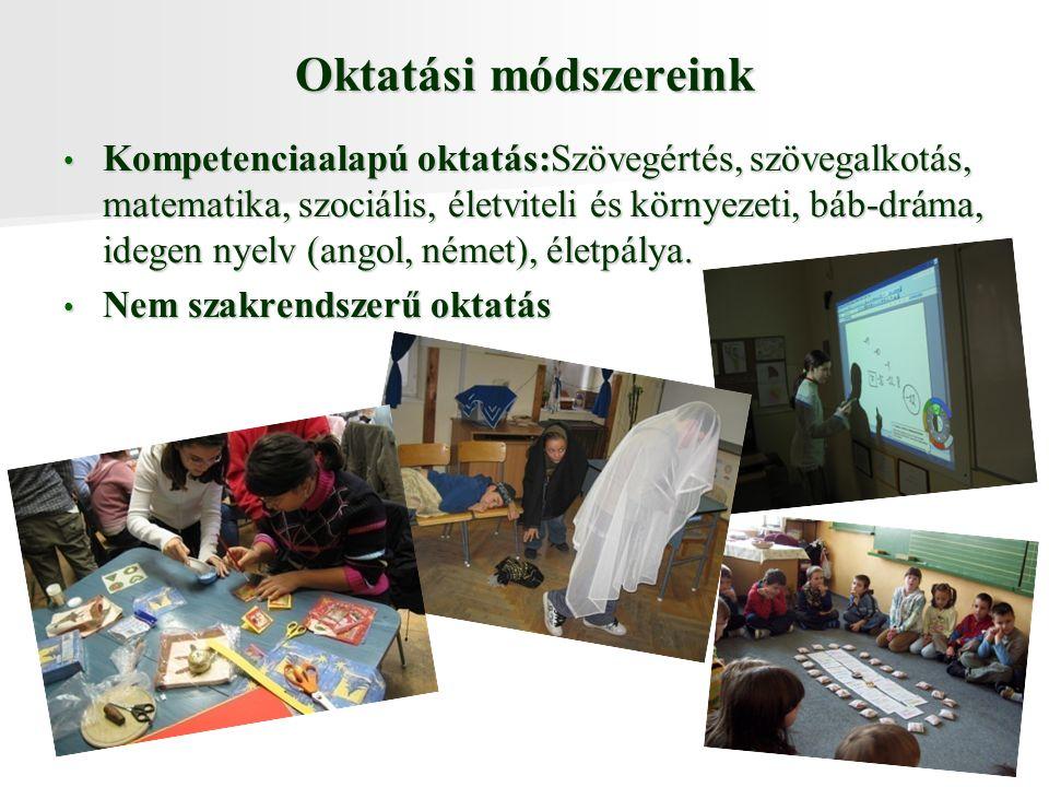Oktatási módszereink Kompetenciaalapú oktatás:Szövegértés, szövegalkotás, matematika, szociális, életviteli és környezeti, báb-dráma, idegen nyelv (angol, német), életpálya.