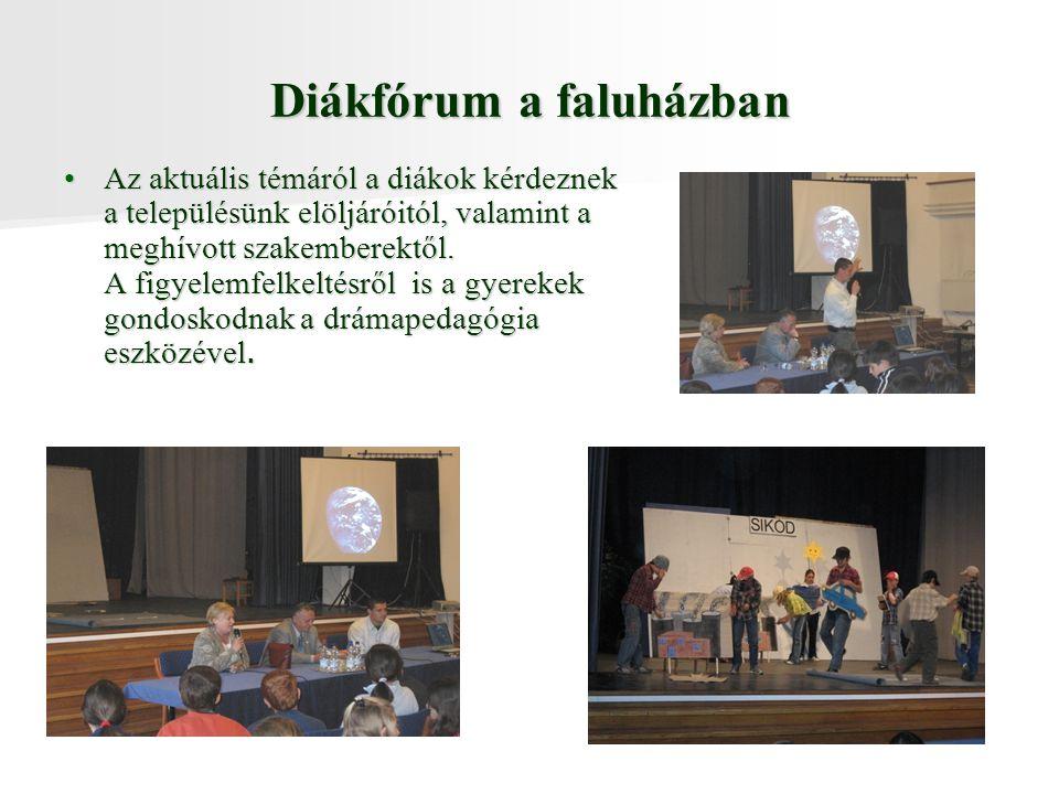 Diákfórum a faluházban Az aktuális témáról a diákok kérdeznek a településünk elöljáróitól, valamint a meghívott szakemberektől.